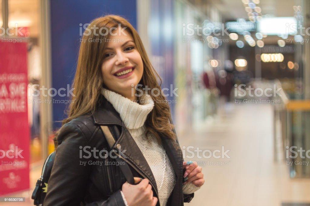 Beautiful Girl at the mall stock photo