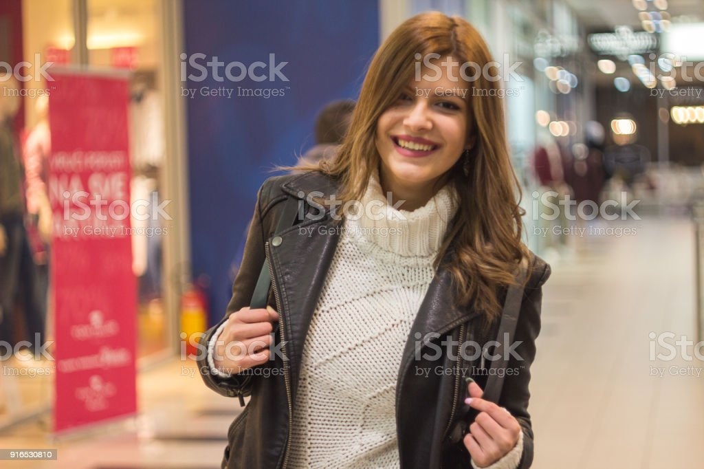 Beautiful Girl at the mall stock photo