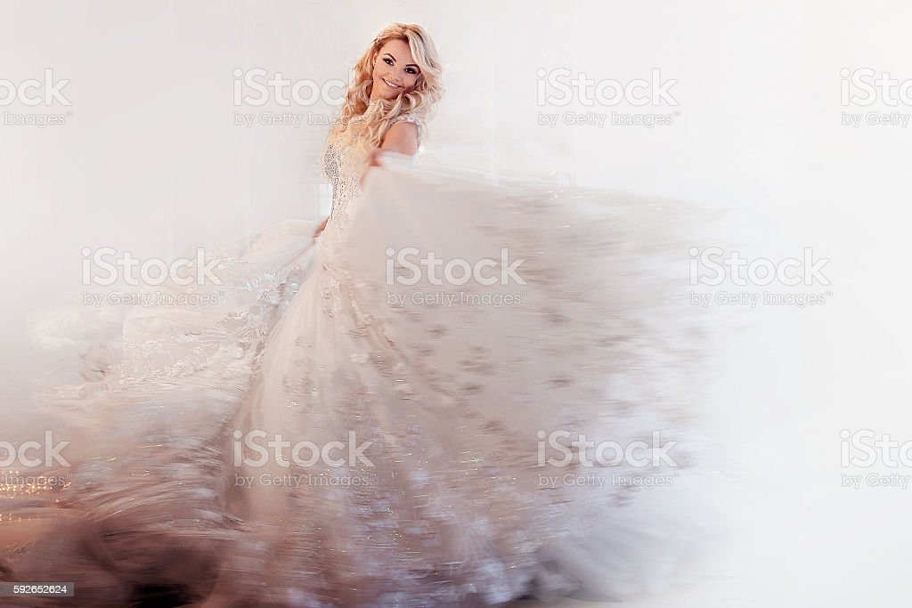 Beautiful girl bride in a magnificent dress, abstract soft background stock photo