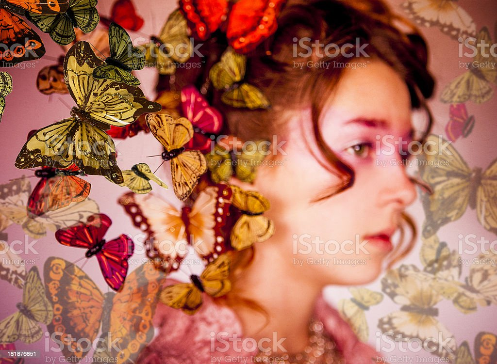 Beautiful Girl: Butterflies royalty-free stock photo