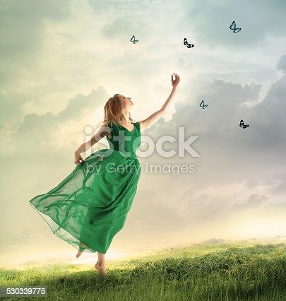 istock Beautiful girl catching butterflies on a mountain 530339775