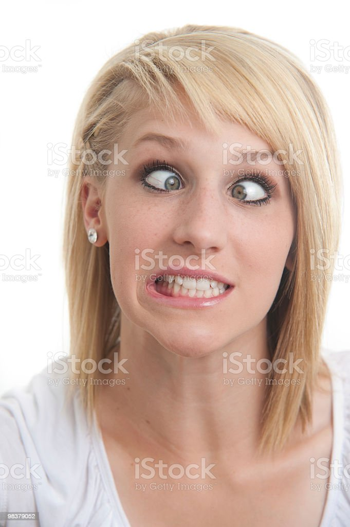 beautiful girl cross eyed and silly royalty-free stock photo