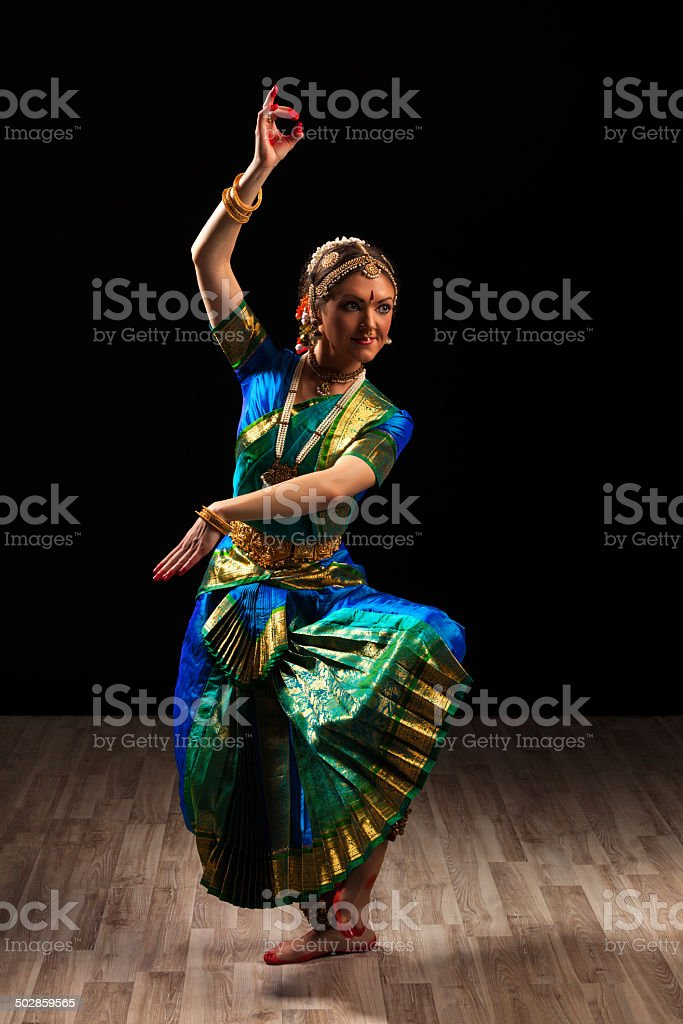 Beautiful girl dancer of Indian classical dance Bharatanatyam stock photo
