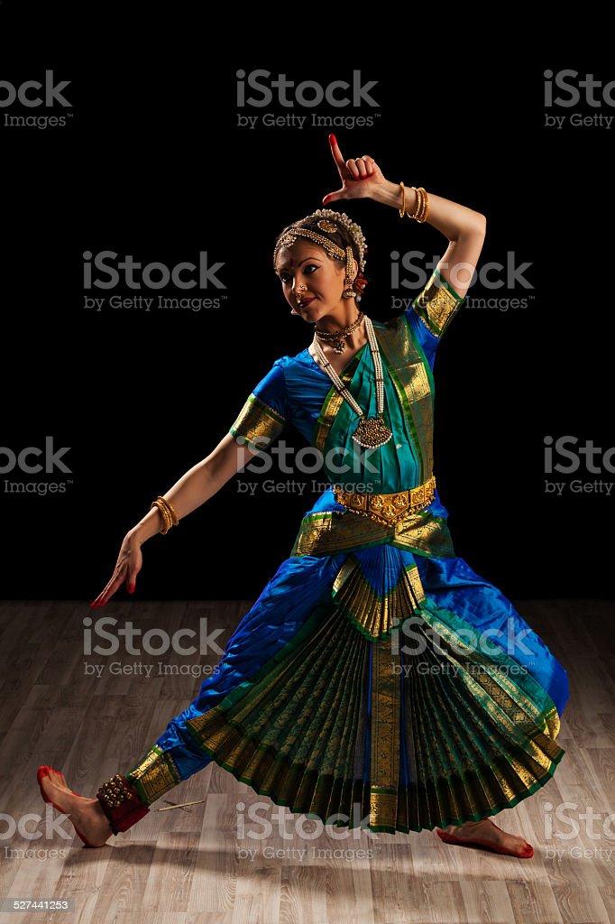 Beautiful girl dancer of Indian classical dance Bharatanatyam stock photo