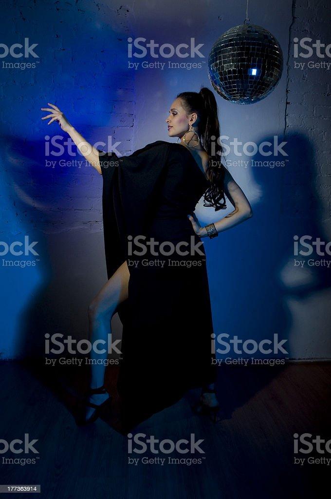 Beautiful girl dancing disco royalty-free stock photo