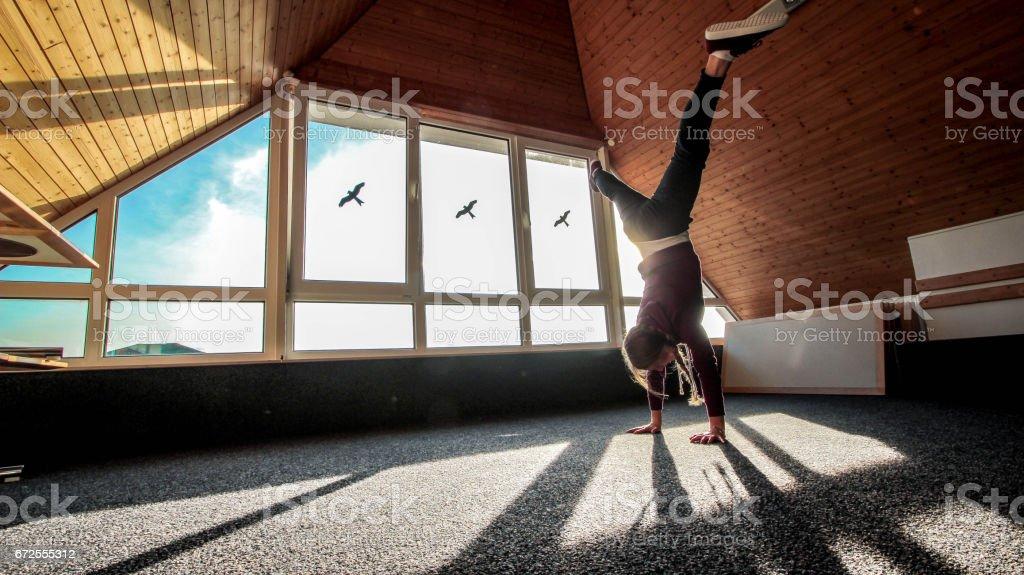 Beautiful girl dancing stock photo