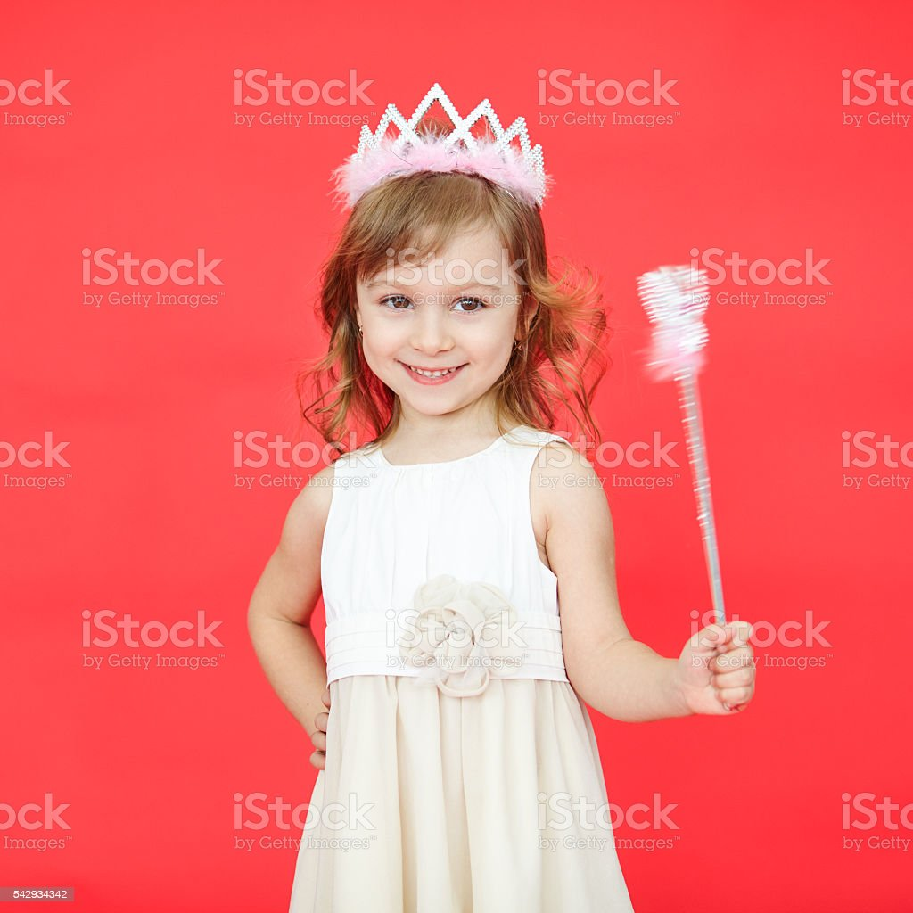 Beautiful girl dressed in fairy isolated on white background stock photo