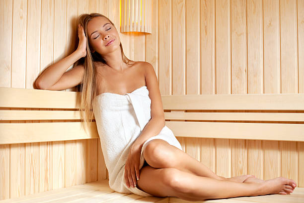 Beautiful girl enjoying in the sauna Beautiful girl enjoying in the saunaYou also may be interested for other