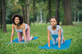 istock Beautiful girl exercising yoga at the park 1023555218