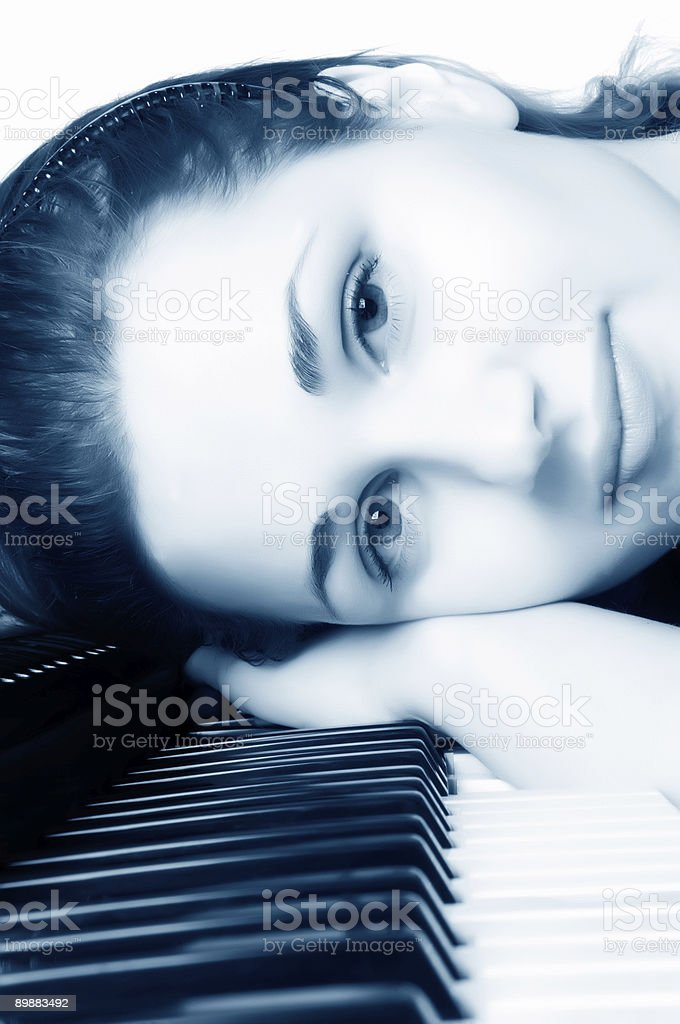 beautiful girl for the piano royalty-free stock photo