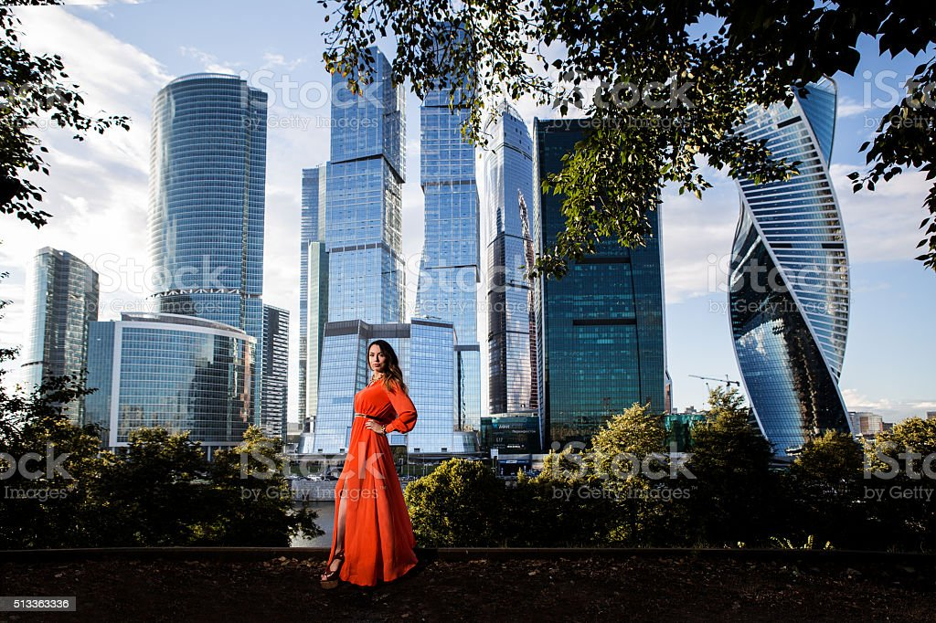 beautiful girl from Moscow city summer stock photo