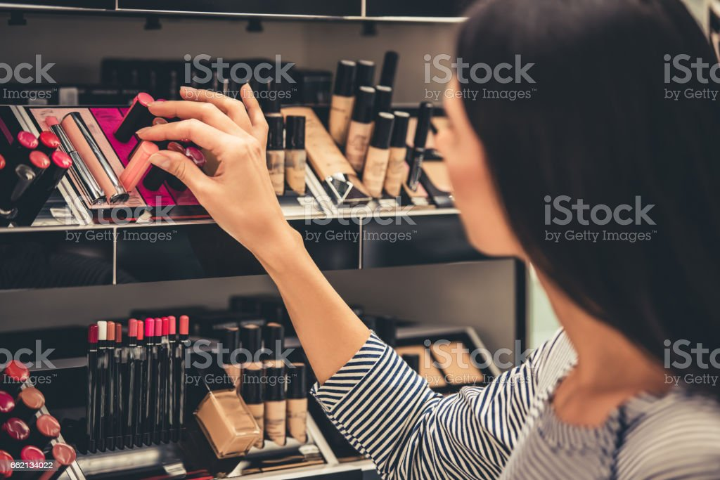 Beautiful girl going shopping stock photo