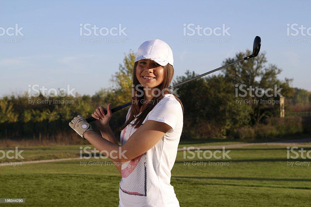 beautiful girl golf player portrait royalty-free stock photo