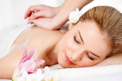 Beautiful Girl Having Massage At Spa Stock Photo