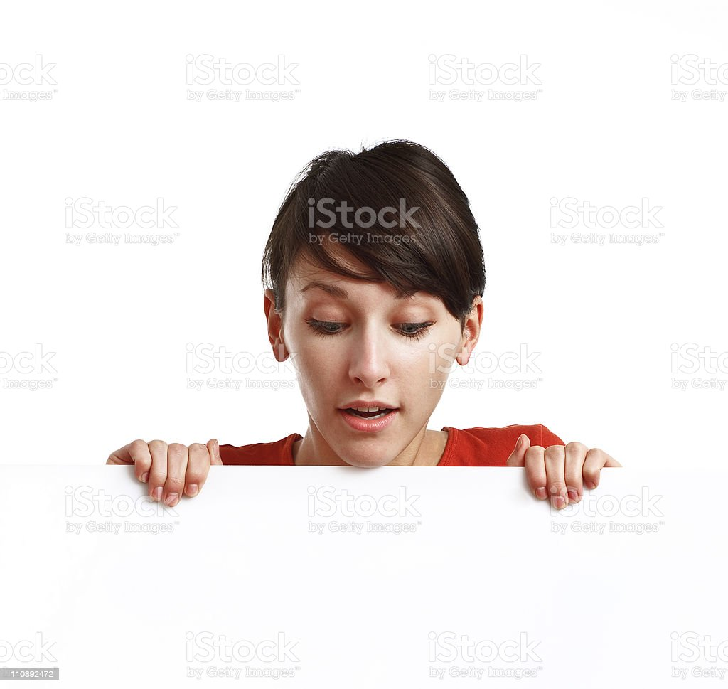 beautiful girl holding an empty white board royalty-free stock photo