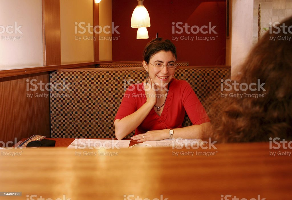 Beautiful girl in a conversation royalty-free stock photo
