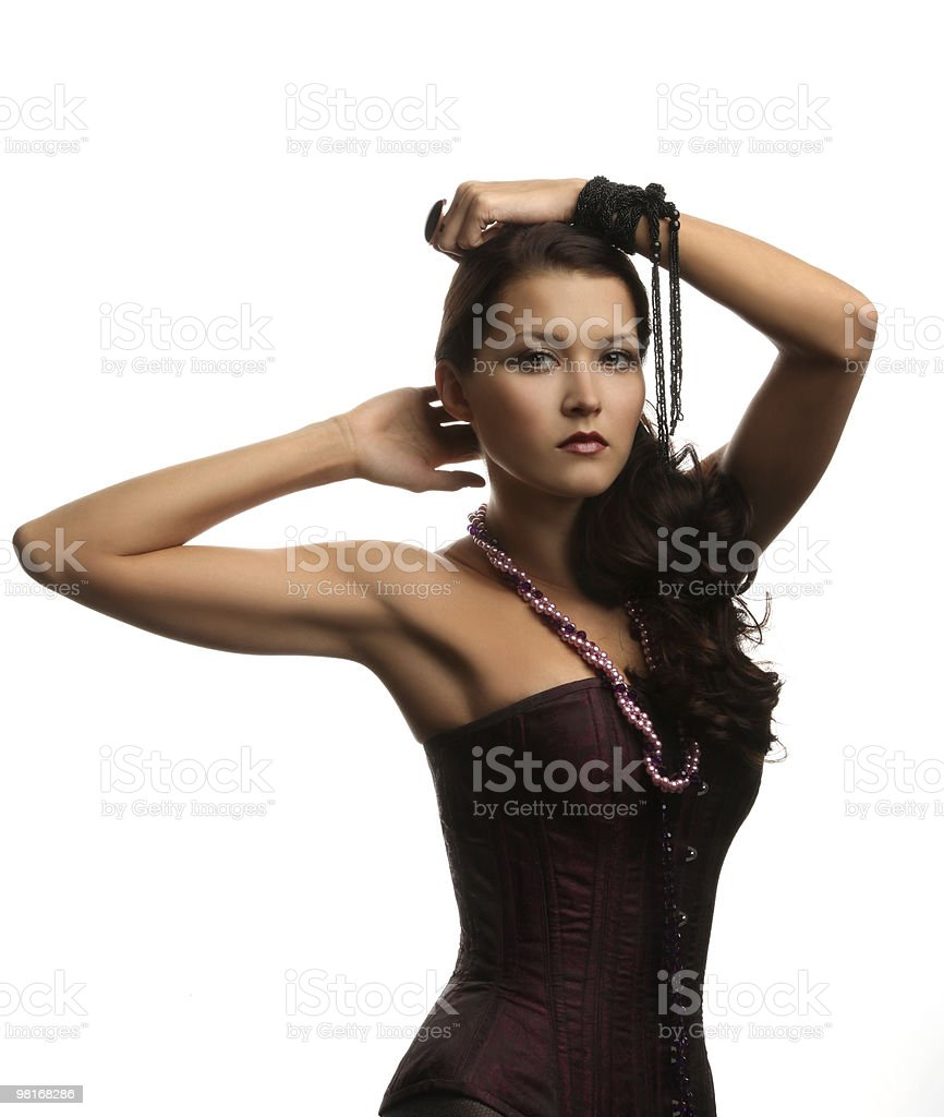 아름다운 소녀 만들진 코르셋 royalty-free 스톡 사진