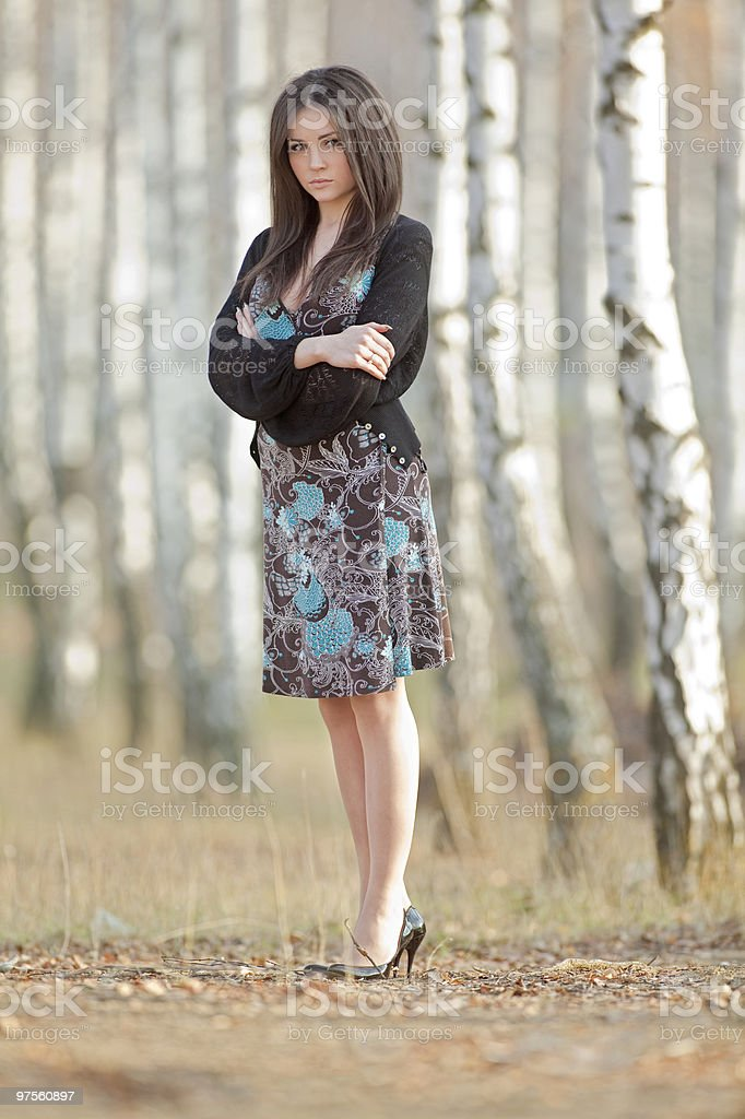 beautiful girl in a forest of birch royalty-free stock photo