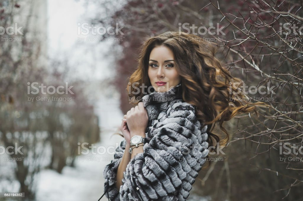 Beautiful girl in a fur coat on a winter walk 4975. 免版稅 stock photo