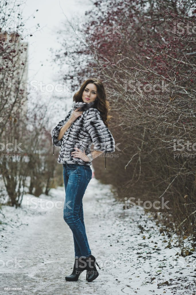 Beautiful girl in a fur coat on a winter walk 4977. royalty-free 스톡 사진