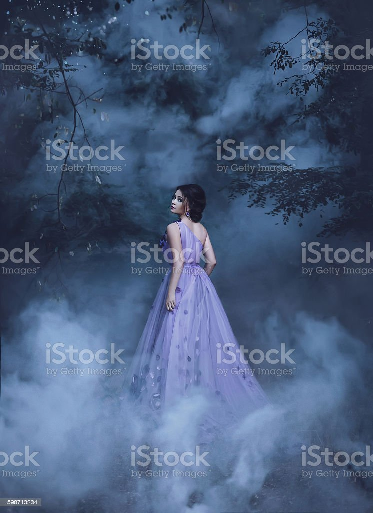 Beautiful girl in a purple dress stock photo