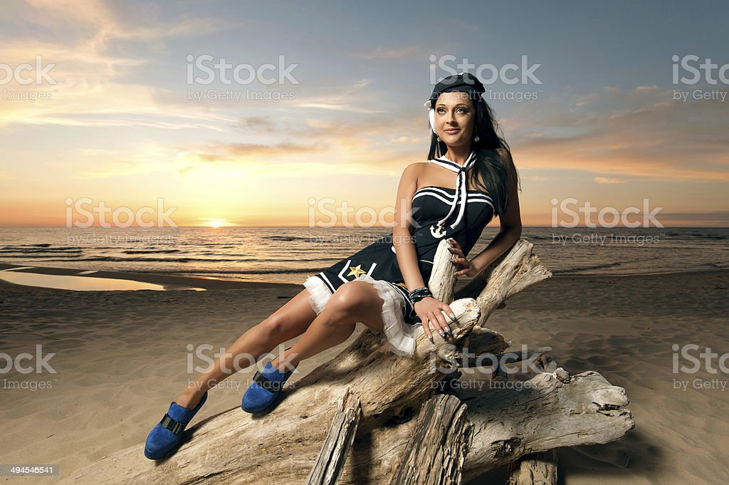 Beautiful girl in a sailor stock photo