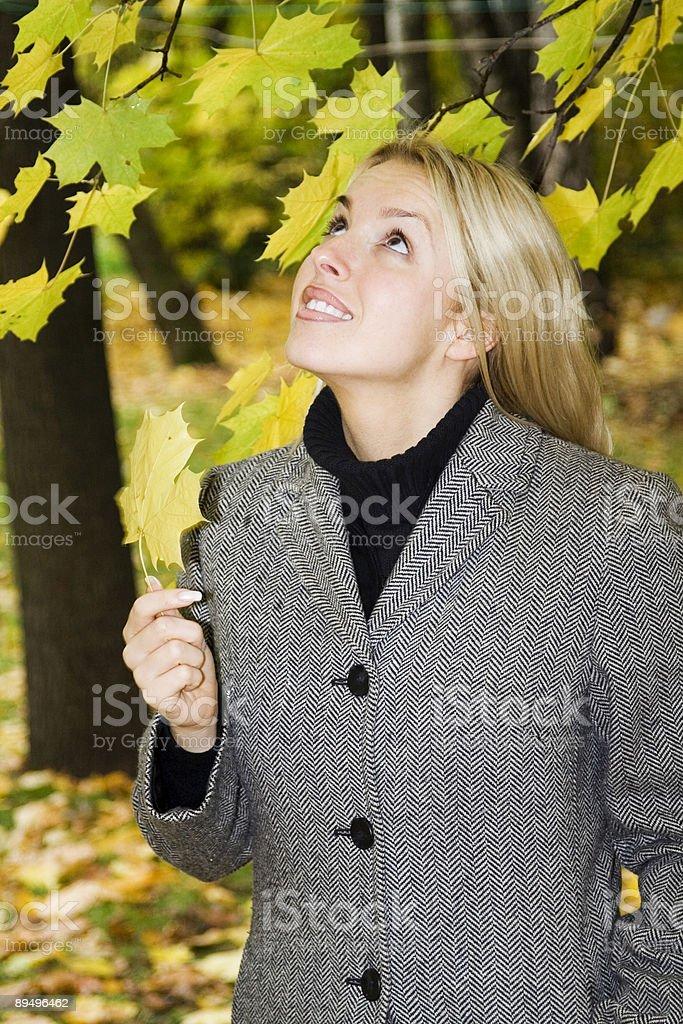 Beautiful girl in an autumn park royaltyfri bildbanksbilder