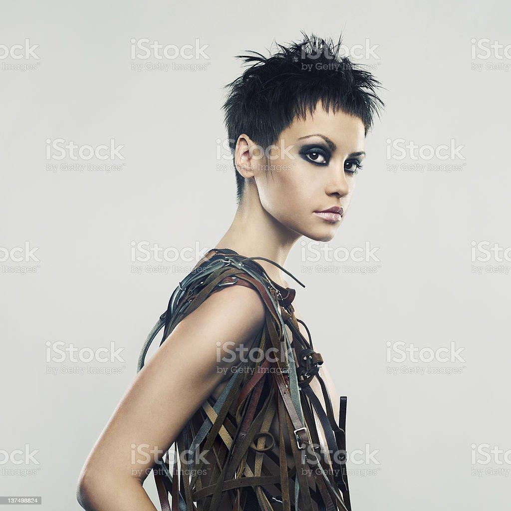 Beautiful girl in an unusual dress royalty-free stock photo