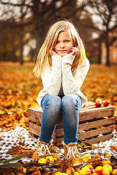 Beautiful girl in autumn stock photo