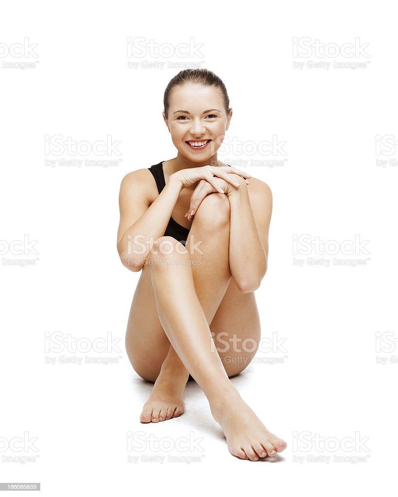 beautiful girl in black cotton underwear royalty-free stock photo