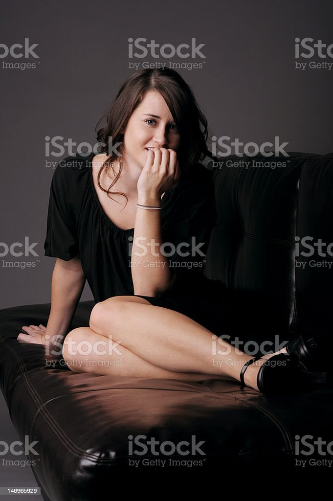 Beautiful girl in black dress royalty-free stock photo