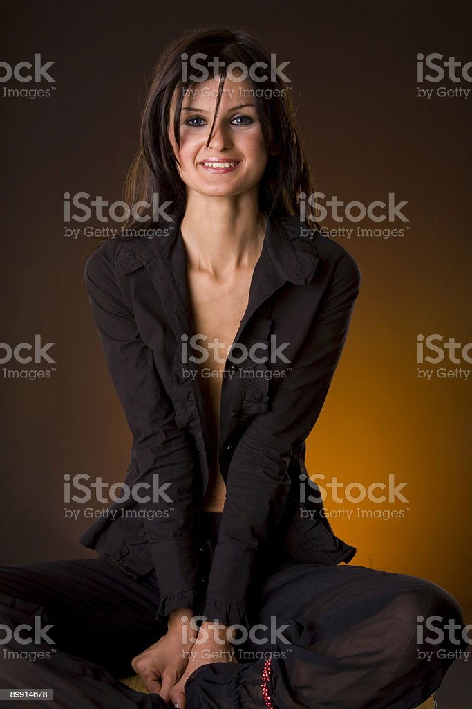 beautiful girl in black royalty-free stock photo