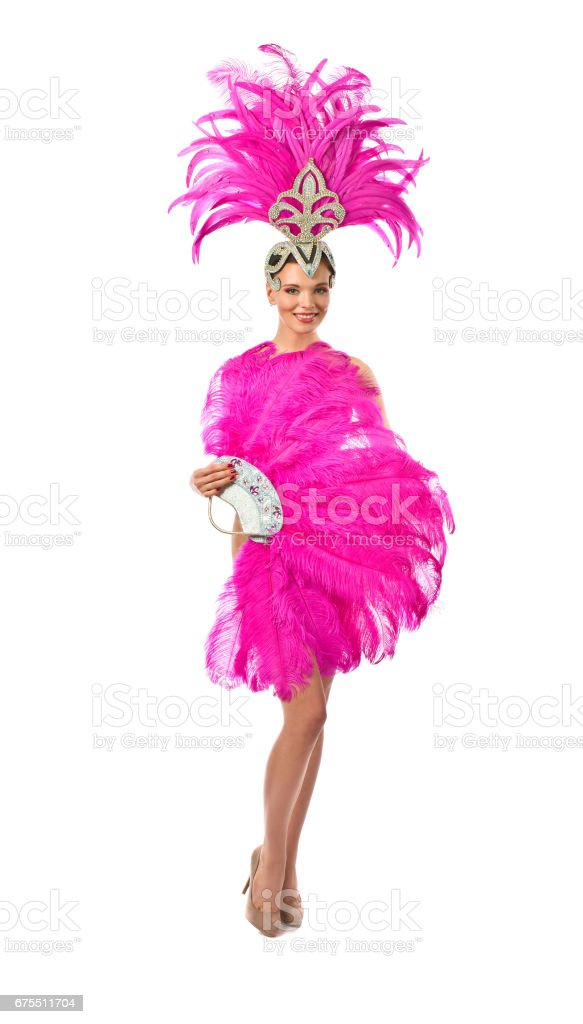 Beautiful Girl in carnival costume, isolated on white background. royalty-free stock photo