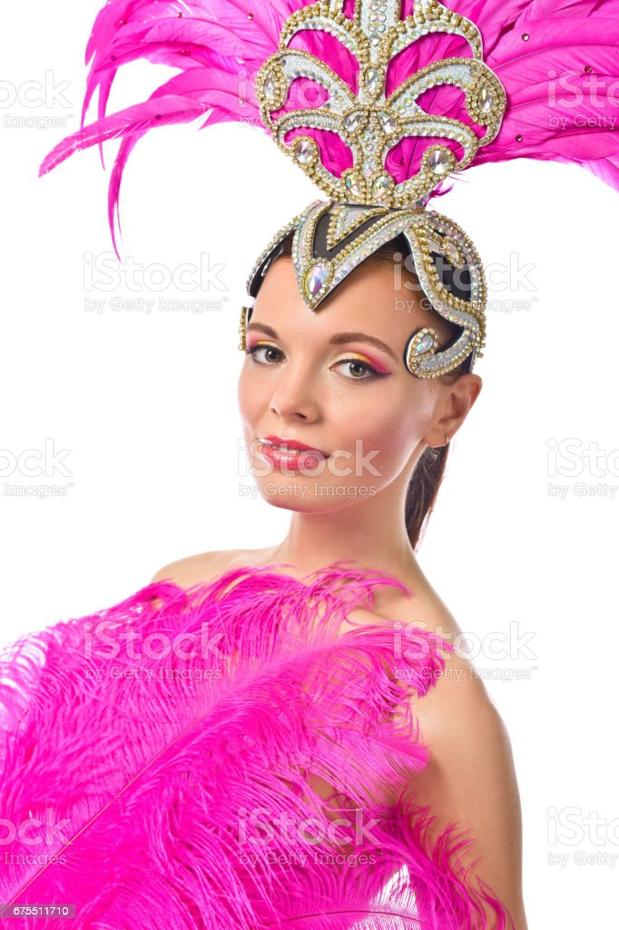 Beautiful Girl in carnival costume, isolated on white background. photo libre de droits