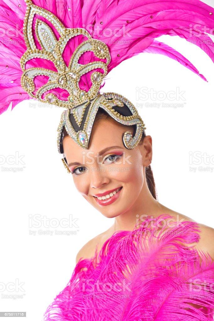 Güzel kız beyaz arka plan üzerinde izole karnaval kılık. royalty-free stock photo