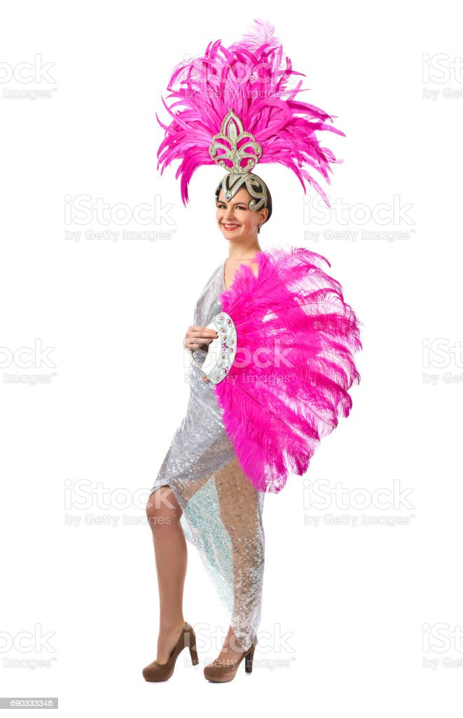 Beautiful Girl in carnival costume, isolated on white background. stock photo