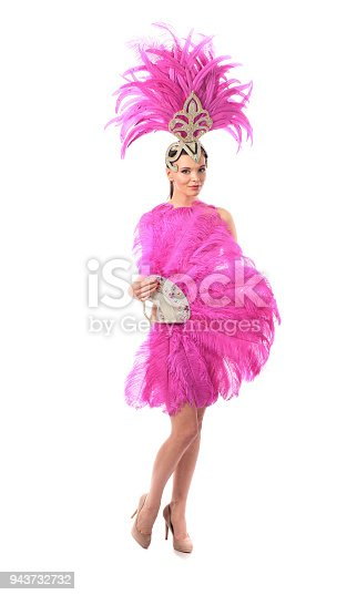 Beautiful girl in carnival costume with rhinestones and pink feathers. Beautiful professional make-up, perfect headdress. Isolated on a white background.
