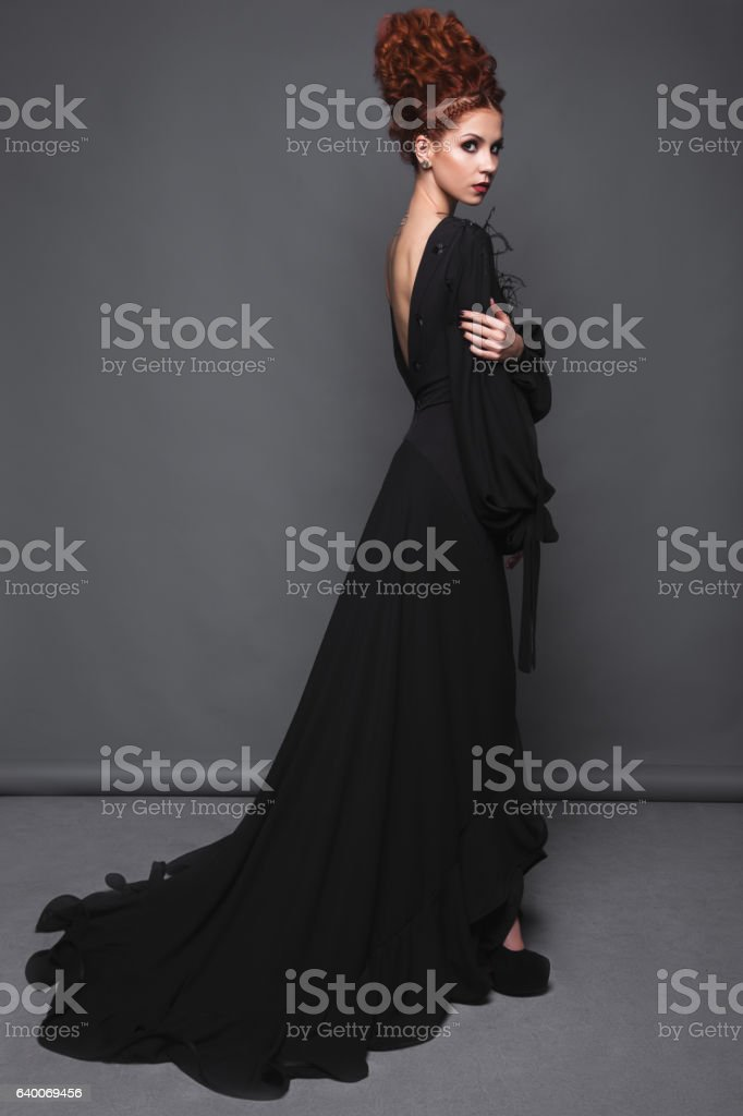 Beautiful Girl In Evening Dress With Avantgarde Hairstyles Beauty ...
