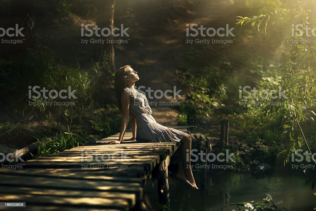 beautiful girl in fairy forest beautiful girl in fairy forest Adult Stock Photo