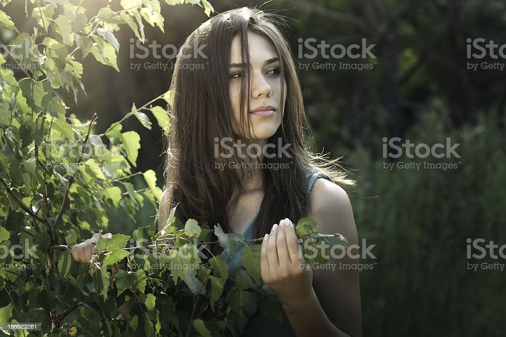 beautiful girl in fairy forest royalty-free stock photo