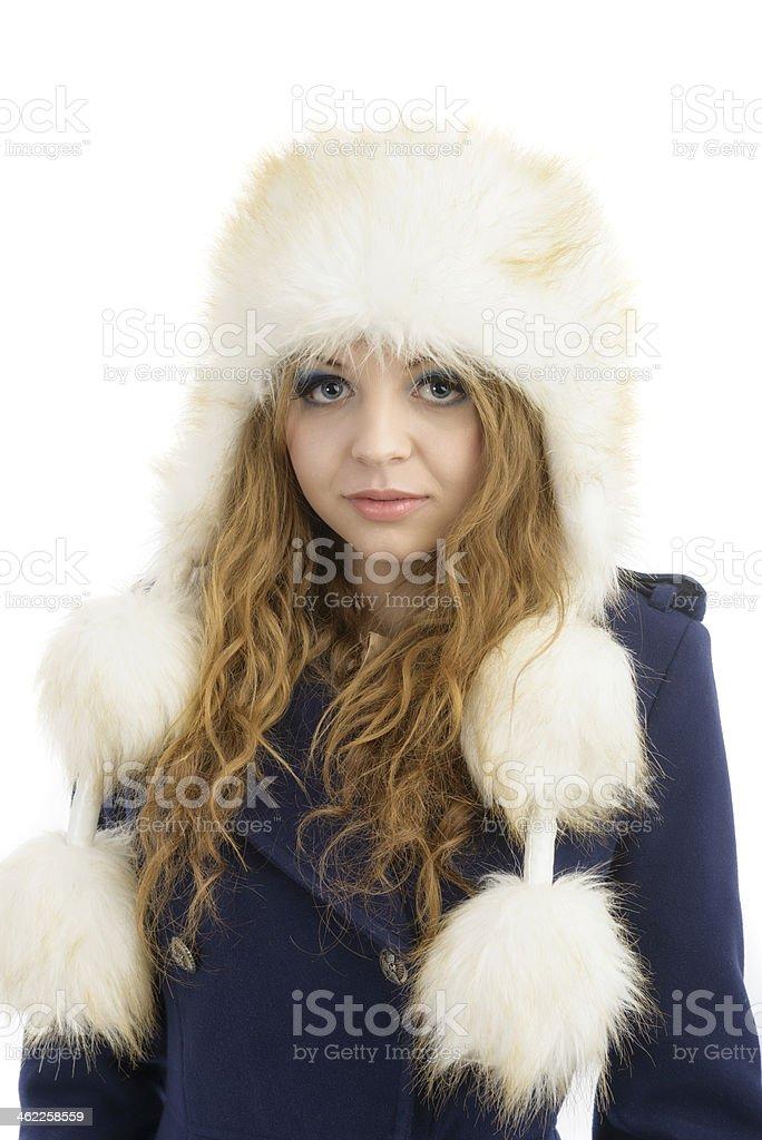 Beautiful Girl In Fur Hat Winter Woman Portrait Stock Photo