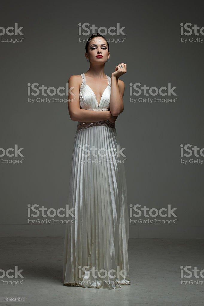 Beautiful Girl in Long Elegant Dress stock photo
