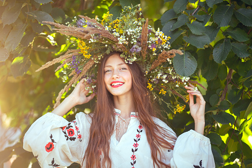Beautiful Girl In Meadow In National Suite Stock Photo - Download Image Now