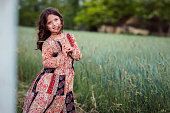 Young child posing in nature