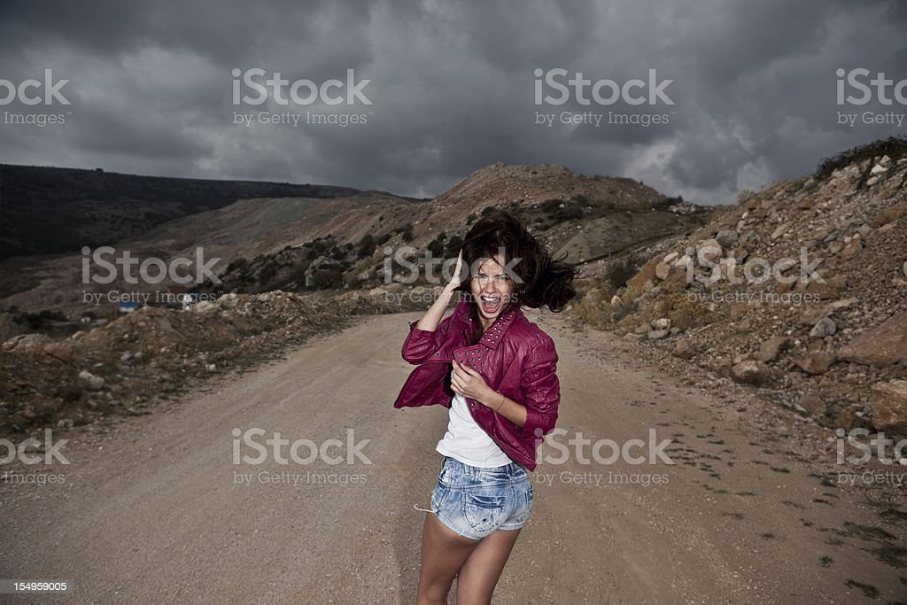 beautiful girl in panic royalty-free stock photo