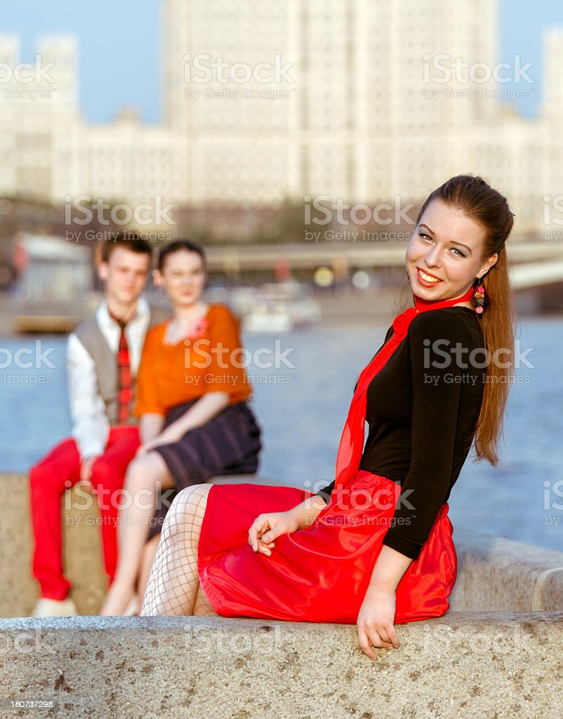 Beautiful girl in retro style outdoors royalty-free stock photo