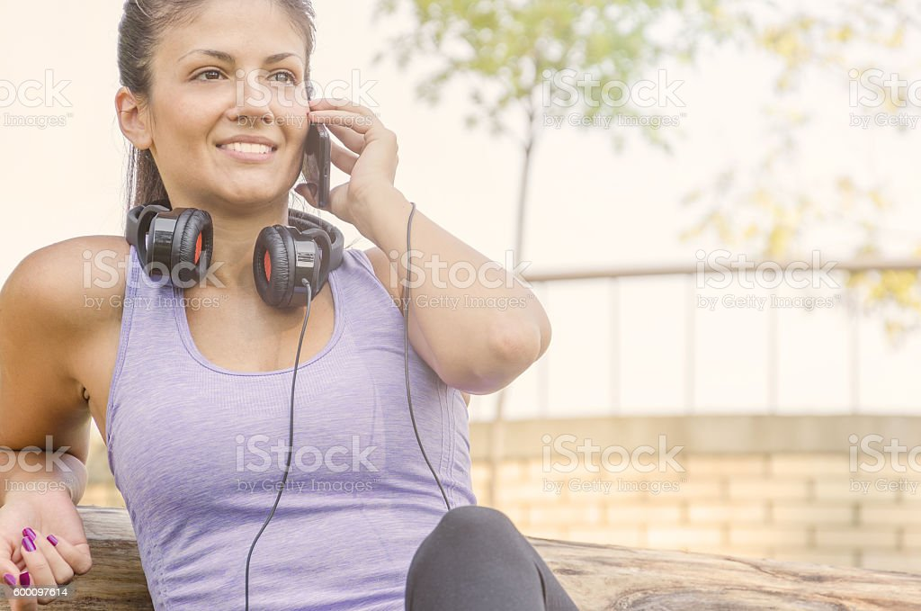 Beautiful girl in sports clothes stock photo