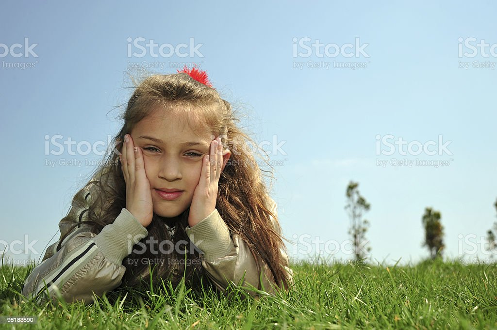 beautiful girl in the meadow royalty-free stock photo