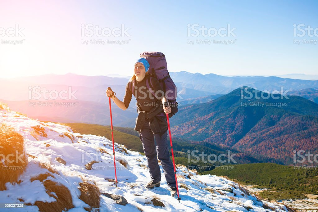 Beautiful girl in the mountains. royalty-free stock photo
