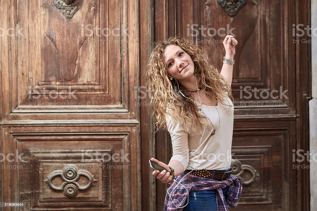 Beautiful Girl in the Old Town stock photo